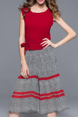 Outfits Solid Color T-Shirt and Pleated Palazzo Pants Twinset
