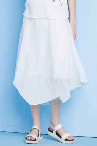 Chic Asymmetrical Solid Color Skirt WHITE XL