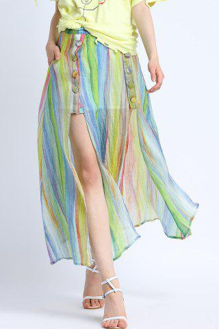 Unique Colorful Striped Side Slit Skirt