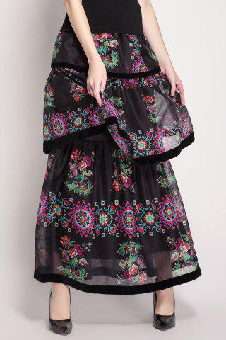 Latest High Waisted Floral Print Layered Skirt