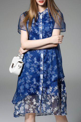 Latest Asymmetric Floral Pattern Dress
