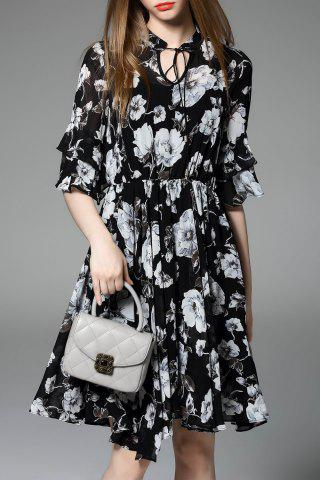 Outfit Ruffled Flower Print Pleated Dress