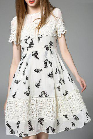 Cheap Lace Panel A Line Chiffon Dress