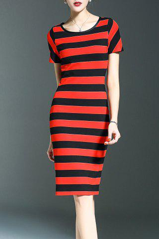 Fashion Sheath Striped Dress