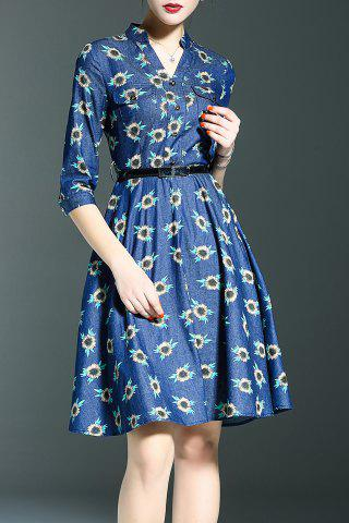 Shops Belted Floral Print Dress
