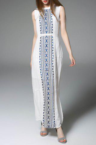 Affordable Maxi Slit Embroidered Sleeveless Dress
