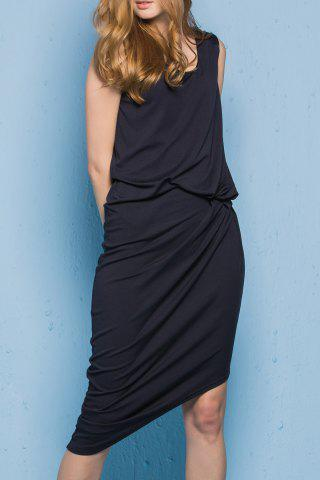 Fancy Asymmetric Front Twist Dress
