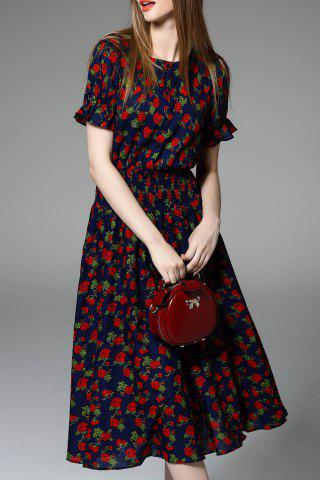 Trendy Floral Print Ruched Dress