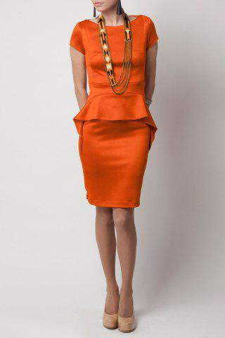 Sale Boat Neck Solid Color Peplum Dress