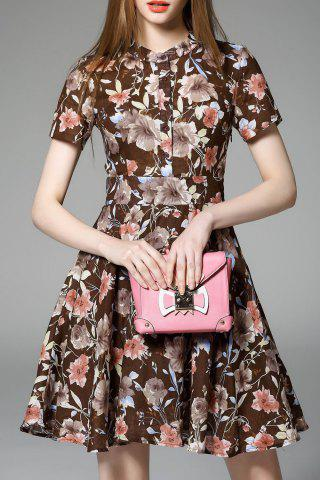 Store Flower Pattern High Waist Dress