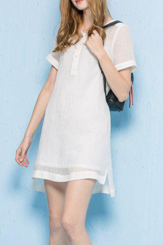 Cheap Simple Style High Low Hem Dress Twinset