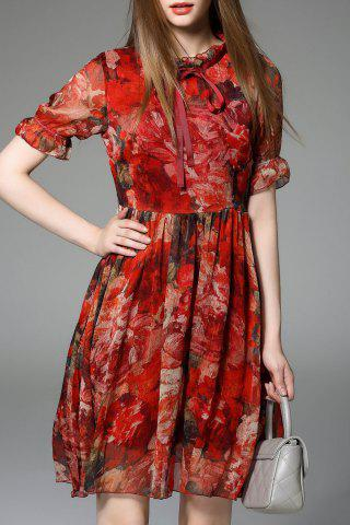 Discount Chiffon Floral Swing Dress
