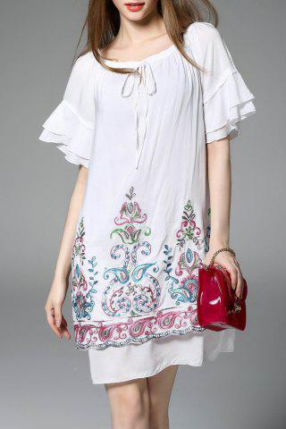 Outfit Flower Embroidered Ruffled Dress