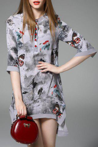 Unique Asymmetric Butterfly Print Dress
