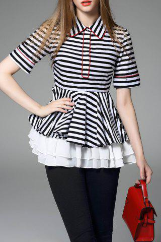 New Polo Collar Striped Layered Blouse