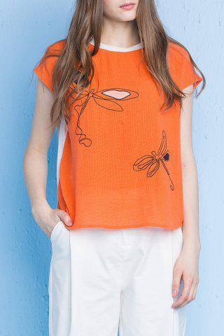 Affordable Dragonfly Print Cotton Tee