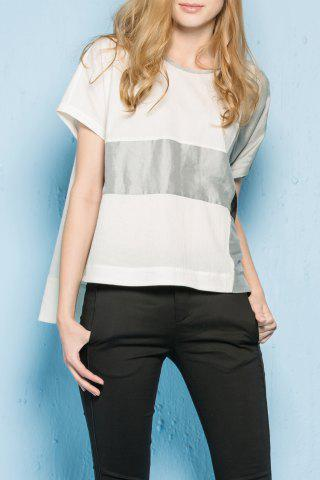 Chic Round Neck Color Block High Low T-Shirt