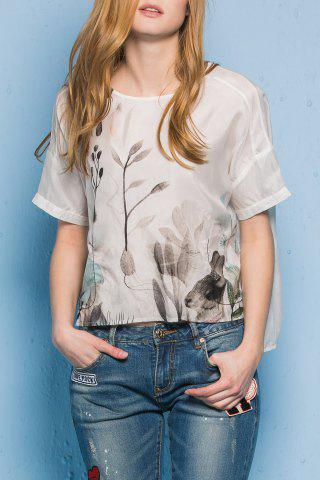 Best Round Neck High Low Hem Rabbit Print T-Shirt