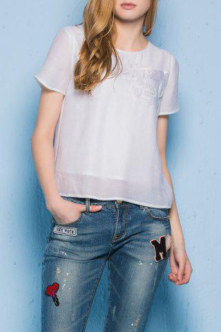 Cheap Round Neck Short Sleeve Patched T-Shirt