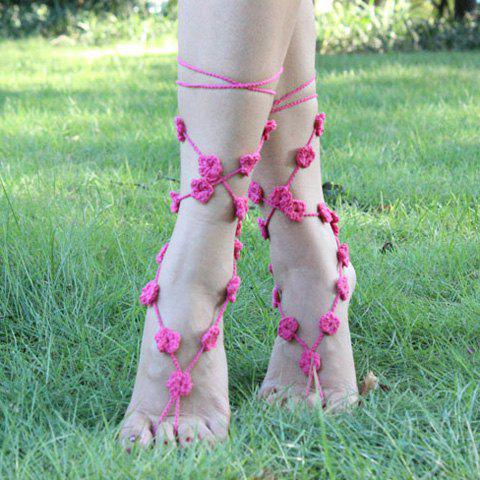 Discount Handmade Hollow Out Flower Girl Anklets - LIGHT PINK  Mobile
