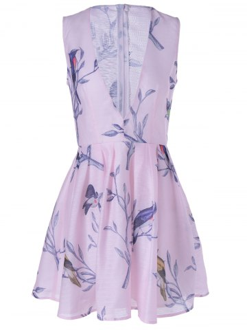 Latest Fashionable Sleeveless Plunging Neck Print Mini Dress - L PINK Mobile
