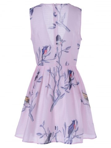 Affordable Fashionable Sleeveless Plunging Neck Print Mini Dress - L PINK Mobile