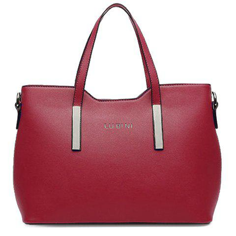 Outfit Concise Solid Colour and Metal Design Tote Bag For Women