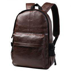 Leisure Zipper and PU Leather Design Backpack For Men - BROWN