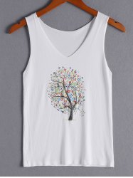 Simple Tree Print V-Neck Tank Top For Women -