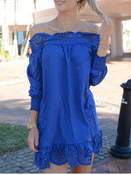 Stylish Slash Collar Long Sleeve Solid Color Laciness Women's Dress - BLUE