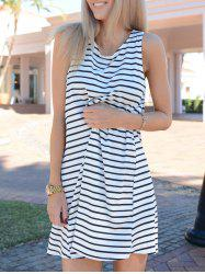 White Black Sleeveless Striped Dress - WHITE AND BLACK