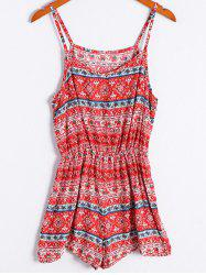 Ethnic Style Tribal Print Spaghetti Strap Romper For Women - RED