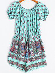 Ethnic Style Off-The-Shoulder Short Sleeves Print Romper For Women -