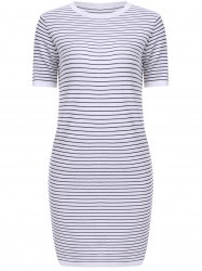 Casual Jewel Neck Striped Short Sleeves Dress For Women -