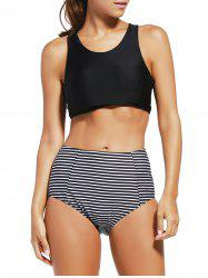 Racerback Striped  High Waisted Crop Top Bikini Set