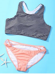 High Neck Racerback Striped Strappy Bikini Set