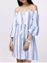 Off-The-Shoulder Puff Sleeves Stripes Casual Dress -