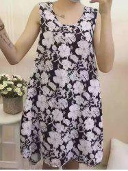 Stylish Scoop Neck Floral Print Dress For Women -