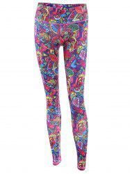 Trendy High Stretchy Printed Multicolor Women's Yoga Pants - COLORFUL