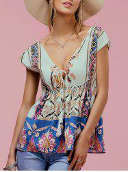 Ethnic Style V-Neck Short Sleeve Floral Print Women's Blouse