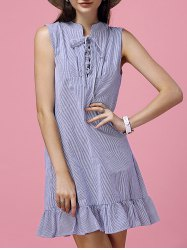 Preppy Stand-Up Collar Striped Lace-Up Ruffled Dress For Women -