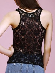 Strappy Floral Lace Insert Tank Top -