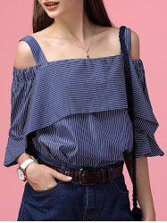 Chic Off-The-Shoulder Striped Tee + Little Crop Top Twinset For Women -