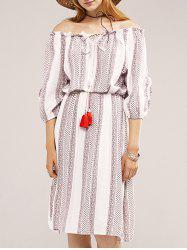 Stylish Off The Shoulder Ethnic Print Lace-Up Dress For Women -