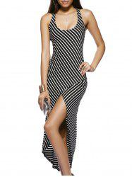 Chic U Neck Sleeveless Striped Cross Back High-Low Dress For Women