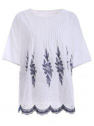 Embroidered Ribbed Peasant Blouse -