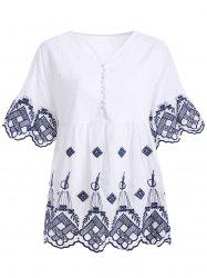 Ethnic Style Button Up Embroidered Scalloped Women's Blouse -