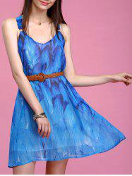 Refreshing Feather Print Sleeveless Chiffon Dress For Women - BLUE