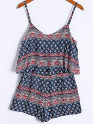 Ethnic Style Spaghetti Strap Flounce Tribal Print Romper For Women -