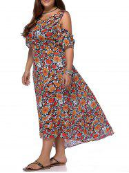 Chic Plus Size Cold Shoulder High Low Hem Women's Floral Print Dress